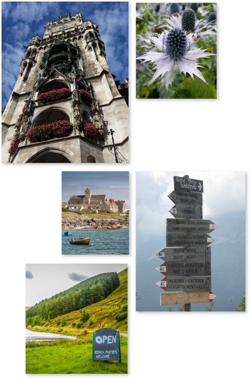 Collage of travel destinations